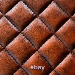 Vintage Leather Saddle Pommel Horse Stool Footstool Seat 43cm Diamond Stitch
