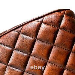 Vintage Leather Saddle Pommel Horse Stool Footstool Seat 85cm Diamond Stitch