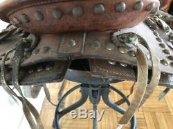Vintage Leather Western Pony Horse Saddle Wooden Stirrups Youth Sized Kid 12