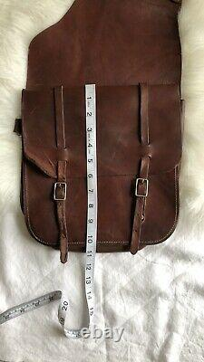 Vintage Leather Western Trail Horse Saddle Bags Tack or Decor