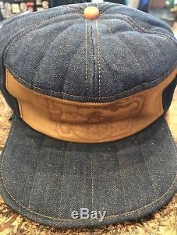 Vintage Levi Leather Horse Patch Orange Stitched Denim Hat Size Way Med/Large