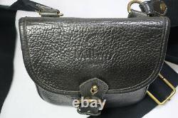 Vintage MULBERRY England Small Black Leather Saddle Camera Shoulder Sling Bag