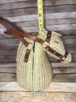 Vintage Marcus Bros 1960s MCM Wicker Horse Head Handbag Purse MINT Scarce
