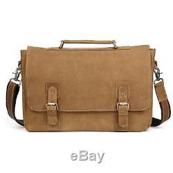 Vintage Men Crazy Horse Genuine Leather Briefcases Shoulder Laptop Bag Portfolio
