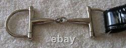 Vintage Men's Gucci Black Patent Leather Belt Silver Horse Bit Buckle Size 34