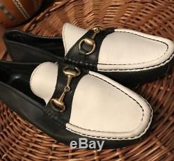 Vintage Men's Gucci Horse-Bit Loafers Size 9 M Navy/White Leather Vintage