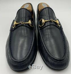 Vintage Mens Gucci Loafers Midnight Blue Black Gold Horse Bit 43 US 10