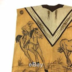 Vintage Mexican Gaban Poncho Serape Fringe Cowboy Horses Etched Leather Western