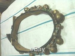 Vintage-Old-Beaded-Horse-Necklace-Leather Collar-Decoration-bronz Bell-60 year-r
