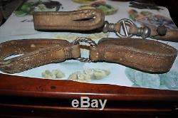 Vintage Old Wild Horses Gaucho's Leather Hobble Straps With Silver Rings