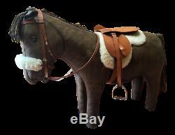 Vintage Omersa Shetland Pony Horse Leather Bench Footstool Decor Mid Century