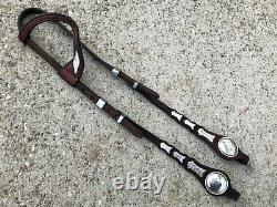 Vintage One Ear Western Show Horse Headstall / Bridle w VOGT Sterling Conchos