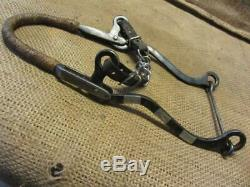 Vintage Ornate Hackamore Silver Mounted Iron Bit Leather Antique Horse 10063