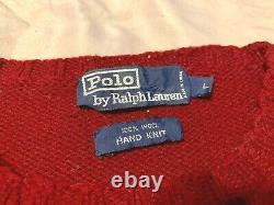 Vintage POLO Ralph Lauren Horse Shoe Equestrian Fair Isle Hand Knit Sweater L