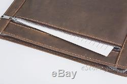 Vintage Padfolio Crazy Horse Leather Portfolio Compact Pad Organizer Case Holder