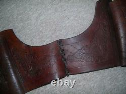 Vintage Pair Of Western Embossed Leather Horse Riding Panier Saddle Bags