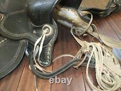 Vintage Parade / Show HORSE SADDLE, Leather, Diamond, 16 Size