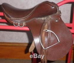 Vintage Petite 10 Leather Saddle With Stirrups and String Girth -Display/Model