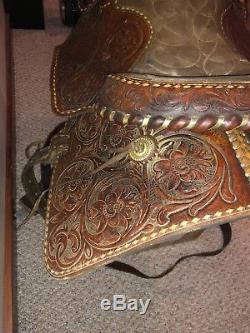 Vintage Price Mclaughlin Western Horse Saddle Leather Cowboy Riding Rare