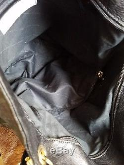 Vintage RARE Guidi Bag Black horse Leather Large Satchel Tote Bag gold hardwear