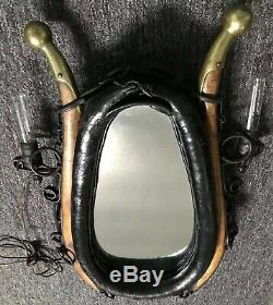Vintage RARE Horse Collar Mirror Antique Lights, Black Iron Rings Leather Brass