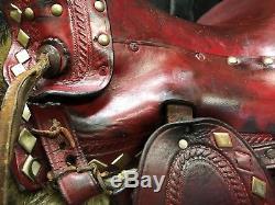 Vintage RED Leather Western Pony Saddle Tapaderos/Horse/Kids/Childs/Decor/Mini