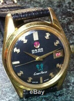 Vintage Rado Green Horse 30j Auto Date Black Face Black French Cobra Band