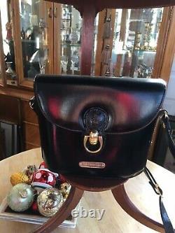 Vintage Ralph Lauren Polo Black Leather Handbag Purse w Gold Hardware