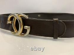 Vintage Rare Gucci Belt GG Buckle Leather Brown Size 95 cm