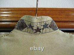 Vintage Renegade Ren Ellis Women's Fringe Leather Bead/Wood Trim Jacket -Sz M