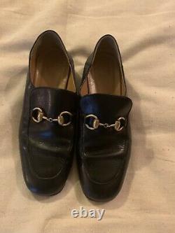 Vintage / Retro Gucci Horse Bit Black Leather Loafers size 37 / 7