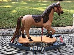 Vintage Rocking Horse Carved Wood Leather Saddle Cast Iron Wheels