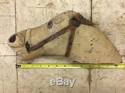 Vintage Rocking Horse Unrestored Leather Saddle