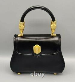 Vintage SISO Black Leather Handbag Purse Gold Tone Horse Hardware Made in Italy