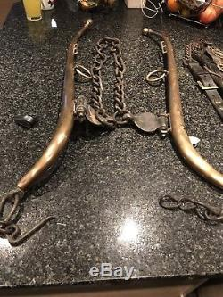 Vintage Shire Horse haemes & Leather Items With Horse Brasses