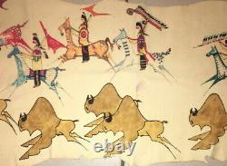 Vintage Signed Native American India Painting on Leather Horses Tee-Pee 44x21