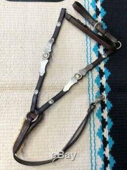 Vintage Silver Western Show Horse Headstall / Bridle Reins Breast Collar Set