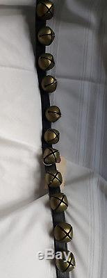 Vintage Sleigh Jingle Horse Bells String of 30 on Intact Leather Belt w Buckle