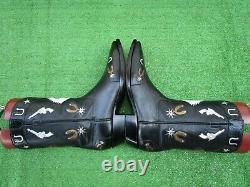 Vintage Stallion Inlay Guns Horse Shoes Saddle Spurs Stars Rare Boot 9.5 D