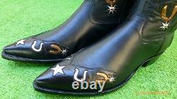 Vintage Stallion Inlay Guns Horse Shoes Saddle Spurs Stars Rare Boots 11 D