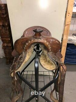Vintage Studded Leather Hand Tooled Western Horse Saddle 16
