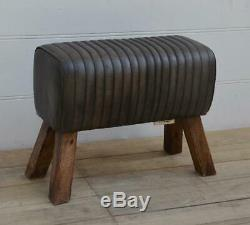 Vintage Style School Gym Pommel Horse Bench Seat Black Slate Leather L 69cm