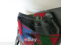 Vintage Tapestry Carpet Bag Navajo Indian Wool Leather Duffel horse head Hardwar