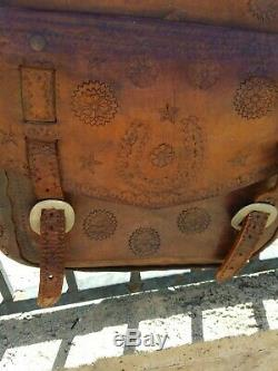 Vintage Tooled Brown Leather Horse or Motorcycle Saddle Bag Bags