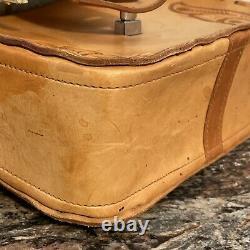 Vintage Tooled Leather Horse Saddle Shoulder Bag Purse Brown Western Cowgirl