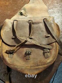 Vintage US Leather Saddle Bags Satchel Antique Horse