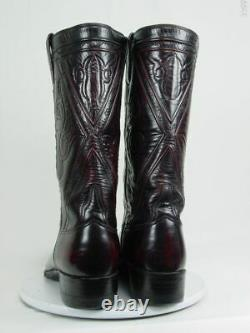 Vintage USA LUCCHESE Men 10.5-D Burgundy Leather Western Horse Cowboy Boots