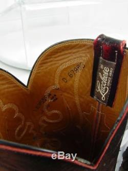 Vintage USA LUCCHESE Men 8-D Black Cherry OSTRICH Western Horse Cowboy Boots