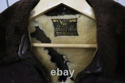Vintage Used 1960's Genuine Brown Horse Hide Leather Jacket Tone Liner USA