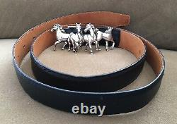 Vintage WATHNE Heavy STERLING SILVER Horse Herd BELT BUCKLE & Sz 40 Leather BELT